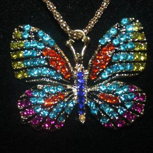 Nwt: Aqua & Yellow Crystal Butterfly Necklace